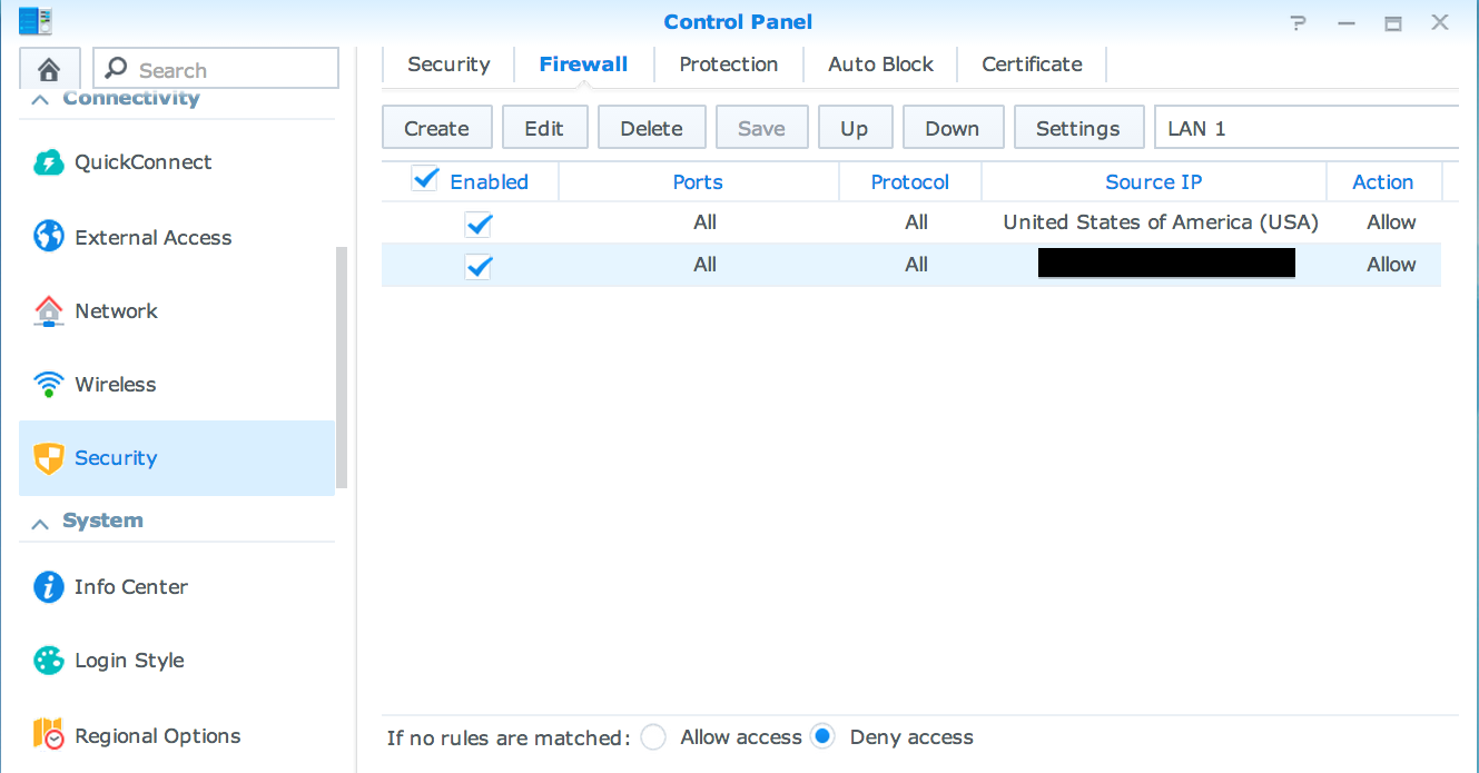 Synology NAS: Block Access by Region (Country) – Misdirected
